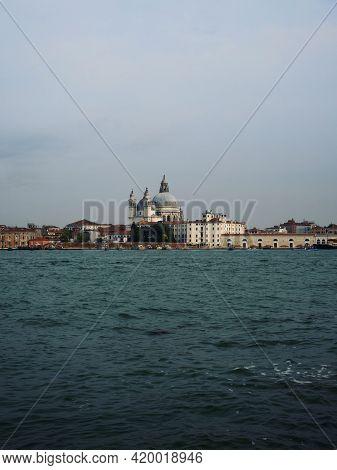Panorama View Of Roman Catholic Dome Cupola Church Basilica Santa Maria Della Salute In Venice Venez