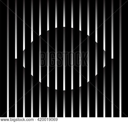 Abstract Unusual Eye Sign Logo On Geometric Black And White Gradient Stripes Background. Luxury Stri