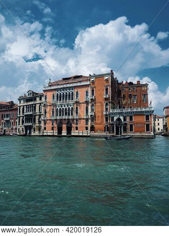 Panorama View Of Charming Picturesque Colourful House Facades Along Grand Canal In Venice Venezia Ve