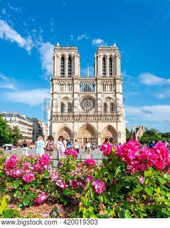 Paris, France - May 2018: Notre-dame De Paris Cathedral In Spring