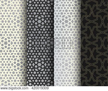 Set Of Arabesque Seamless Patterns. Islamic Abstract Mosaic Backgrounds. Vector.