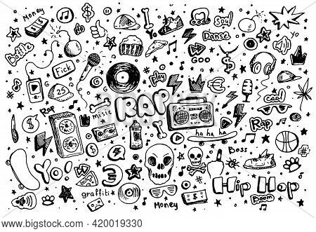 Cartoon Set With Black Doodle Set Dancing Streets. Doodle Sketch Style. Cartoon Style. Hand Drawing.