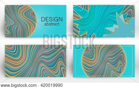 Fluid Colorful Poster Template. Wavy Lines Cover Flyer Set. Vector.
