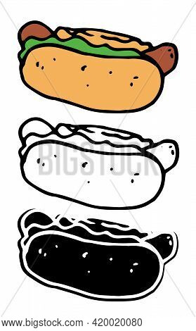 Vintage Doodle Hot Dog.vector Set Of Isolated Elements Of Street Fast Food Hot Dog. Hot Dog Hand Dra