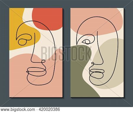 Modern Abstract Art Face. Set Of Abstract Backgrounds With Minimal Shapes And Lines. Home Decor Desi