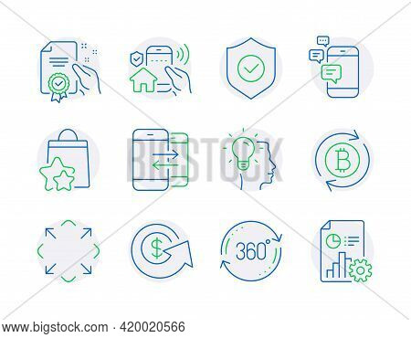 Technology Icons Set. Included Icon As Idea, Loyalty Points, Communication Signs. Full Rotation, Pho