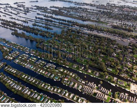 Aerial Panorama View Of Houses On Vinkeveense Plassen Lake With Thousand Islands River Canals Achter