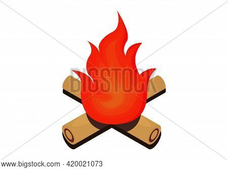 Illustration Of A Campfire With Reddish Orange Flames And A Wooden Trunk With A Wood Texture