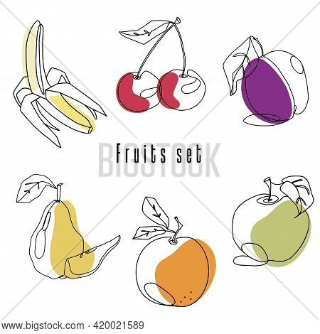 Food Illustration Fruits Set. Line Art Graphic Element Logo And Branding Design Linear Templates In