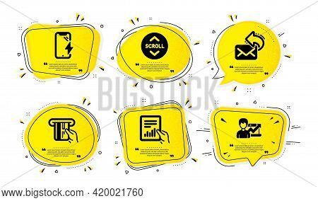 Scroll Down, Share Mail And Smartphone Charging Icons Simple Set. Yellow Speech Bubbles With Dotwork