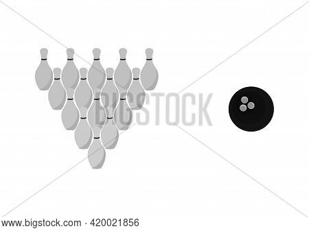 Illustration Of A Bowling Ball And A Bowling Pin With A Bowling Sport Theme