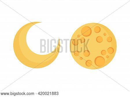 Illustration Of The Crescent Moon And Full Moon Emitting A Beautiful And Bright Light