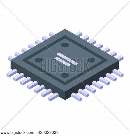 Research Pc Processor Icon. Isometric Of Research Pc Processor Vector Icon For Web Design Isolated O