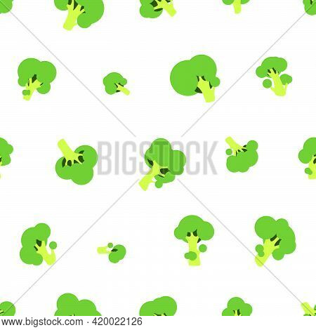 Seamless Vector Pattern Of Green Broccoli On White Background