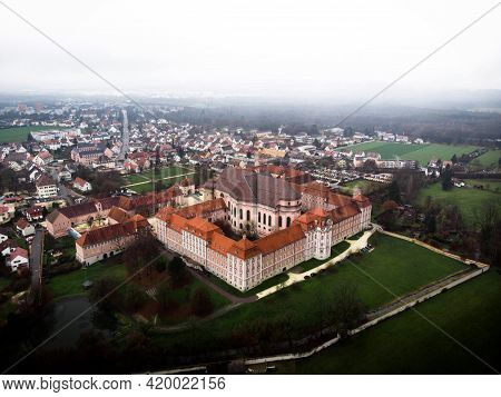Aerial Panorama View Of Former Baroque Benedictine Abbey Monastery Cloister In Wiblingen Ulm Baden W