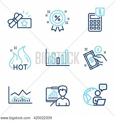 Finance Icons Set. Included Icon As Column Chart, Hot Sale, Loyalty Gift Signs. Trade Infochart, Pre