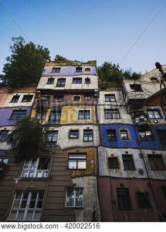 Exterior Facade Panorama Of Expressionist Architecture Colourful House Building Wall Hundertwasserha