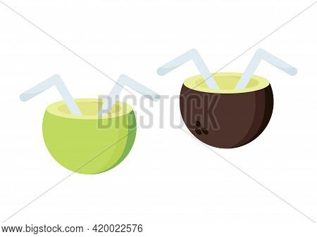 Illustration Of Young Coconut Ice With Two Types Of Coconut, Green And Brown, With The Theme Of Summ