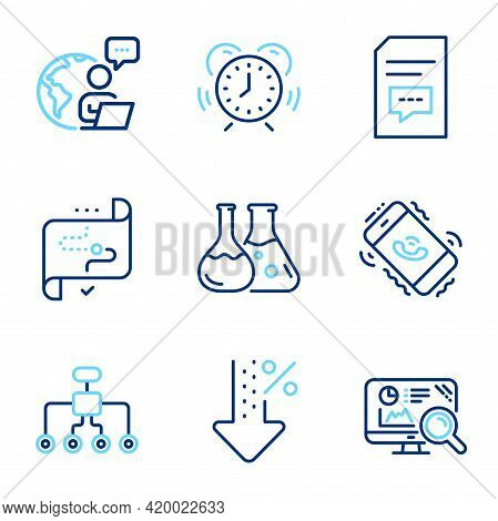Technology Icons Set. Included Icon As Low Percent, Restructuring, Chemistry Lab Signs. Target Path,