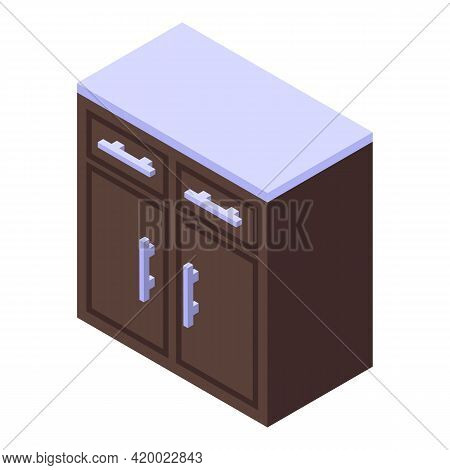 Kitchen Cook Furniture Icon. Isometric Of Kitchen Cook Furniture Vector Icon For Web Design Isolated