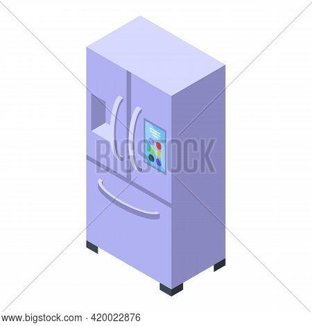 Kitchen Fridge Icon. Isometric Of Kitchen Fridge Vector Icon For Web Design Isolated On White Backgr