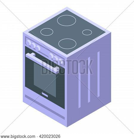 Kitchen Induction Oven Icon. Isometric Of Kitchen Induction Oven Vector Icon For Web Design Isolated