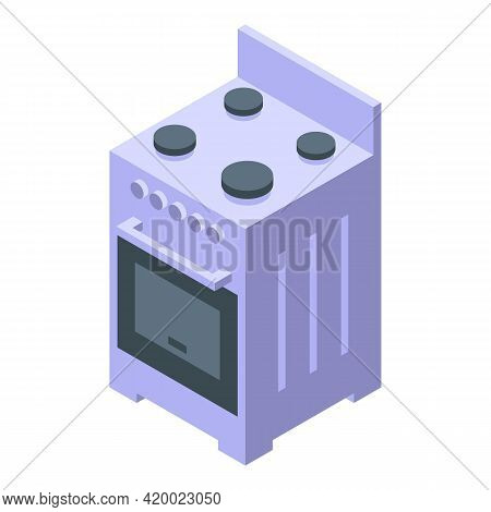 Kitchen Electric Cook Stove Icon. Isometric Of Kitchen Electric Cook Stove Vector Icon For Web Desig