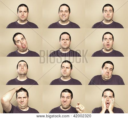 A composite image of many faces of a man