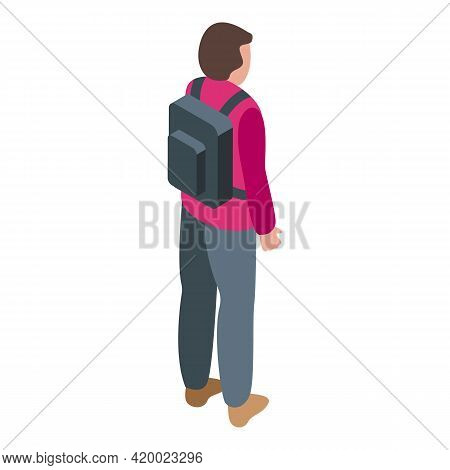 Schoolboy Keep Distance Icon. Isometric Of Schoolboy Keep Distance Vector Icon For Web Design Isolat