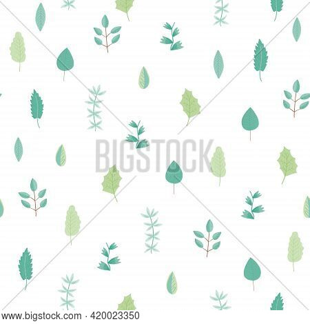 Tender Greenery Seamless Pattern With Light Green And Blue Hand Drawn Leaves And Branches On White B