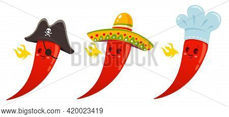 Vector Set Illustration Of A Spicy Chilli Peppers With Different Hats. Cartoon Red Chilli Pepper Wit