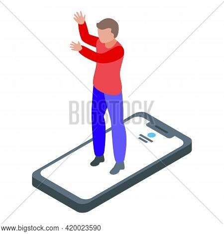 Dancing Smartphone Online Party Icon. Isometric Of Dancing Smartphone Online Party Vector Icon For W