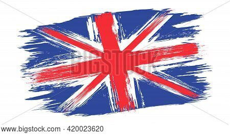 Vector Vintage British Flag. Drawing Old Flag Of Uk In Grunge Style.