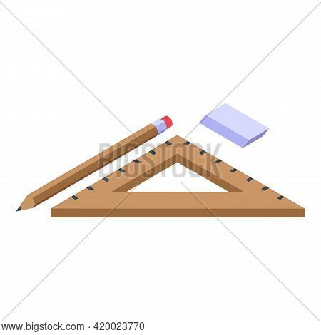 Campus Ruler And Tools Icon. Isometric Of Campus Ruler And Tools Vector Icon For Web Design Isolated