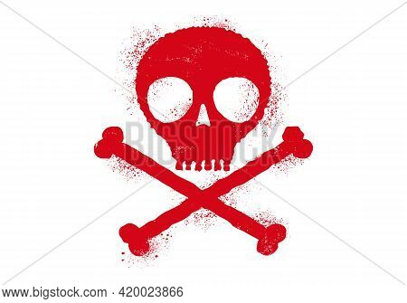 Vector Icon Of Skull With Blood Drops. Simple Vector Illustration Of Bleeding Skull In Grunge Style.