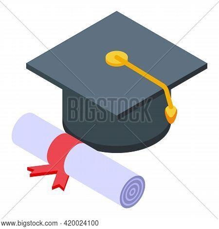 Campus Graduation Hat Icon. Isometric Of Campus Graduation Hat Vector Icon For Web Design Isolated O