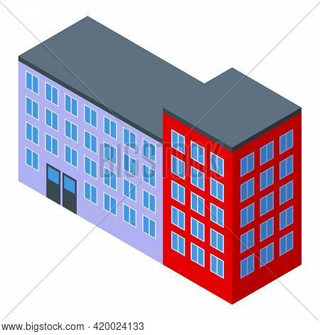 Campus Building Icon. Isometric Of Campus Building Vector Icon For Web Design Isolated On White Back