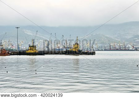 The Water Area Of The Sea Cargo Port With Port Tugboats In The Foreground And A Variety Of Gantry Cr
