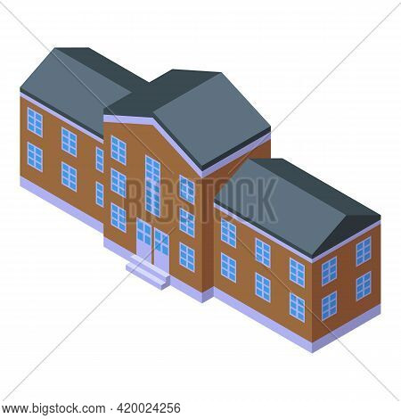 Campus Academy Icon. Isometric Of Campus Academy Vector Icon For Web Design Isolated On White Backgr