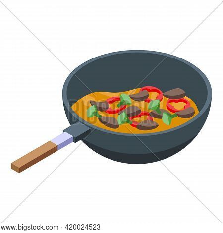 Wok Menu Cooking Icon. Isometric Of Wok Menu Cooking Vector Icon For Web Design Isolated On White Ba