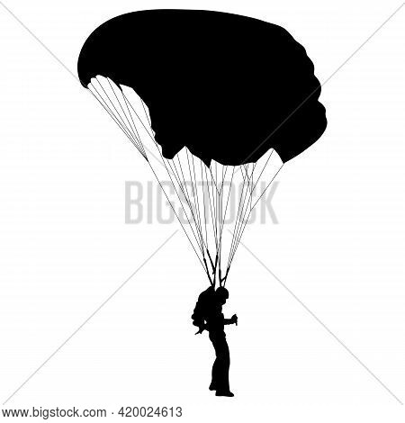 Skydiver, Silhouettes A Parachuting On White Background