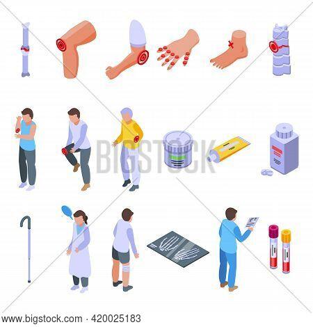 Arthritis Icons Set. Isometric Set Of Arthritis Vector Icons For Web Design Isolated On White Backgr