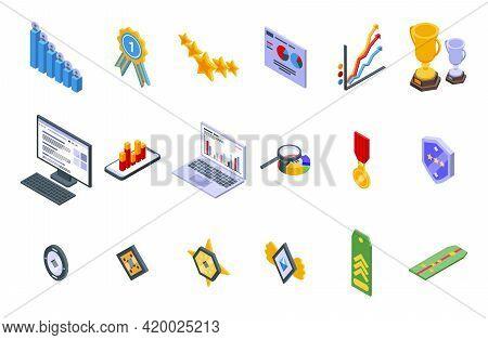 Ranking Icons Set. Isometric Set Of Ranking Vector Icons For Web Design Isolated On White Background