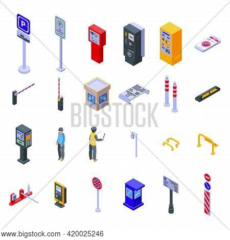 Paid Parking Icons Set. Isometric Set Of Paid Parking Vector Icons For Web Design Isolated On White