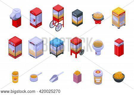 Popcorn Maker Machine Icons Set. Isometric Set Of Popcorn Maker Machine Vector Icons For Web Design
