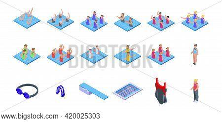 Synchronized Swimming Icons Set. Isometric Set Of Synchronized Swimming Vector Icons For Web Design