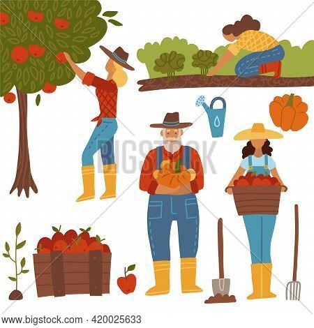 Harvesting People Set. Farmers Doing Farming Job - Gathering, Planting, Growing And Transplant Sprou