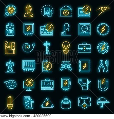 Electrician Service Icons Set. Outline Set Of Electrician Service Vector Icons Neon Color On Black