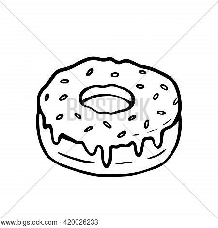 Donut With Icing And Sprinkles Isolated On A White Background. Vector Hand-drawn Illustration In Doo