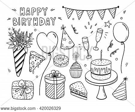 Vector Doodle Set Of Birthday Design Elements. Festive Flags, Caps, Balloons, Gifts, Flowers, Glasse